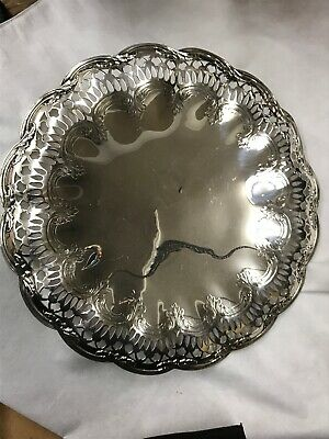 "Sterling Silver Tiffany & Co Makers Pierced Work Footed 12"" Tray"