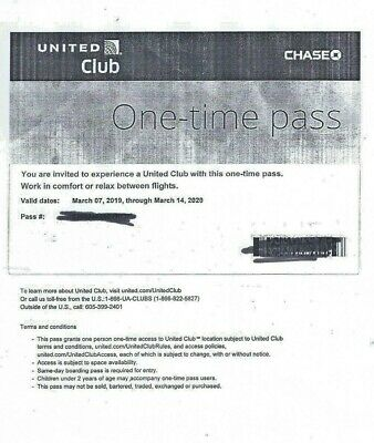 UNITED CLUB PASS- 1 Pass Expires March 14, 2020