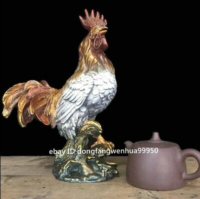 Copper Bronze Chinese Zodiac Auspicious Animal Cock Rooster Chicken Figurine