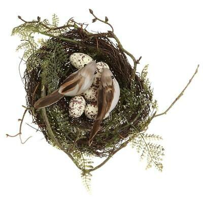 Natural Easter Premium Vine Bird Nest with Birds & Eggs - Natural Brown (Styl...