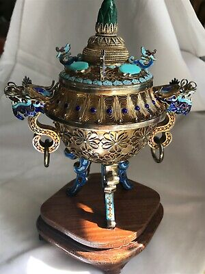 Antique Vintage Chinese  Export Silver Filigree Enamel Gold Gilt Censer