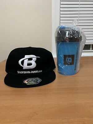 Bodybuilding.com Hat(snap back cap) And Shaker Bottle (16 oz.) - Brand New!
