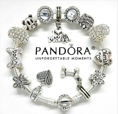 New Authentic Pandora Charm Bracelet Silver Bangle Dog Love Heart European Beads