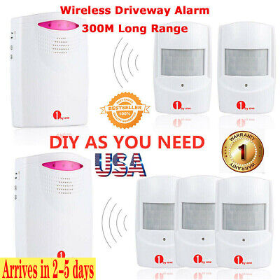 1byone 1000ft Wireless Alarm Driveway Outdoor Motion Sensor Detector Waterproof
