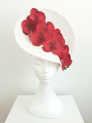 Miss Orchid womens orchid headband fascinator in White /Red