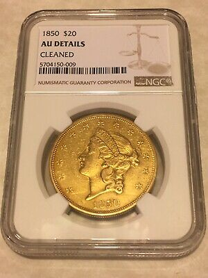 1850 AU NGC Liberty Double Eagle $20 Gold Coin lustrous nice coin (not PCGS)