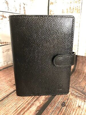 Louis Vuitton Black Taiga Planner PM Agenda 100% Authentic