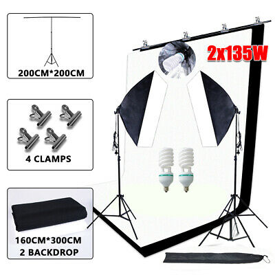 Photography Softbox Soft Box Continuous Lighting+Black White Backdrops Stand Kit