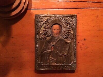 Antique Russian Imperial Icon St. Nikolay c1900