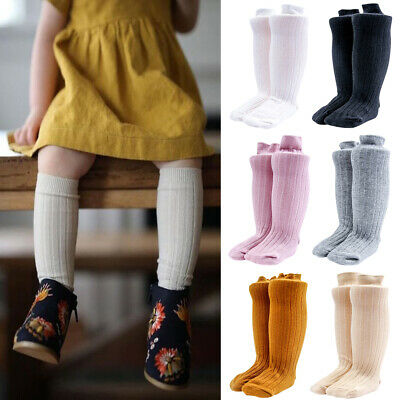 Toddler Kids Girls Knee High Soft Socks Lycra Long School Stockings 1 3 6 Pairs