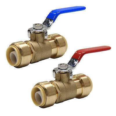 """2 Pcs 1/2"""" Sharkbite Style Push Fit Hot &Cold Water Ball Valve    No Lead"""