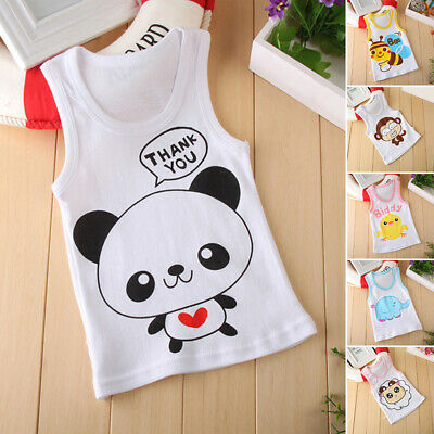 Infant Baby Girls Boy Kids Cartoon Print Sleevess Summer Clothes Tee Tops Vest