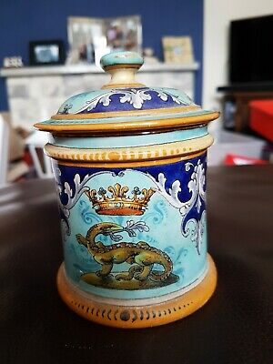 "Antique French Ulysse Blois Et Balon  4 1/2"" Lidded Pot"
