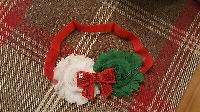 baby red bow christmas head band hair accessories
