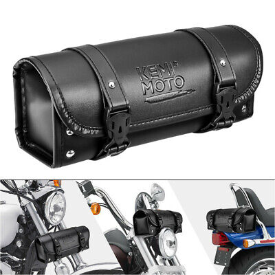 Bid PU Leather Motorcycle Fork Tool Bag Handlebar Saddlebag For Touring Dyna