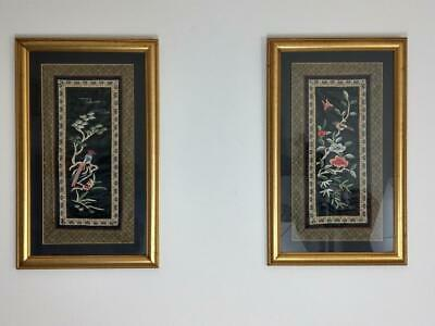 Chinese Silk Embroidery Pair Framed