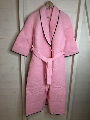Vintage Pink Quilted Housecoat Dressing Gown Robe