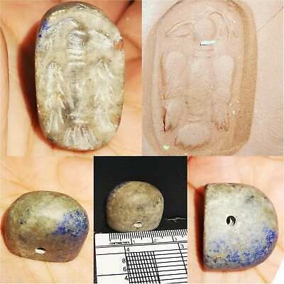 Very Old Lapis lazuli intaglio Eagle stone Beautiful BEAD  # 73