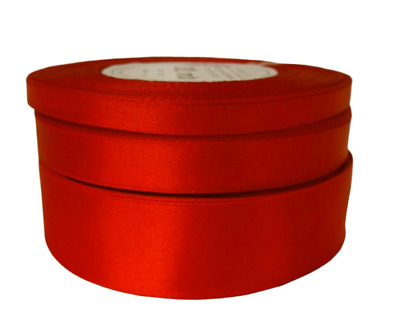 Red Satin Ribbon Full Reel 32 METERS  Single Sided 6mm 12mm 25mm
