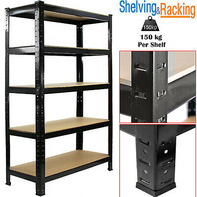 Heavy Duty 5 Tier Garage Racking Storage Shelving Units Boltless Metal Shelves