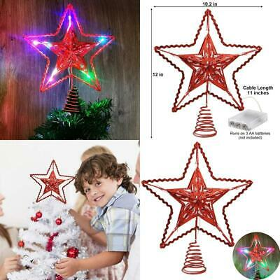 Blissun 12-Inch Red Star Treetop, 15 Multi-Color Light Christmas Tree Topper