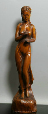 "8"" Chinese Wood Boxwood Hand-Carved Beautiful Belle Women People Sexy Statue"