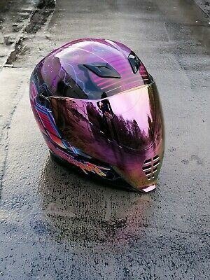 Icon Airflite Synthwave Helmet Purple 80s Style size LARGE