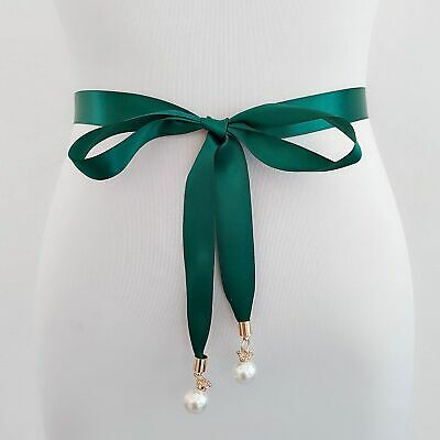 Simple Women Pearl Pendant Style Prom Dress Waist Belt Double Sided Satin Sashes