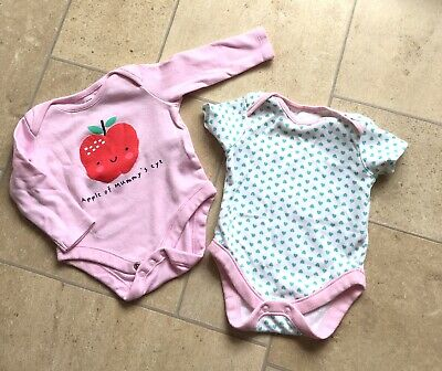 Baby Girl Heart & Apple Logo Vest Bundle Age 0-3 Months BARELY WORN!