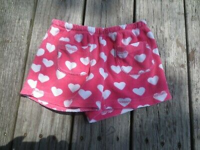 Mini Boden ~ Girls Pink White Heart Toweling Shorts ~ Size 8