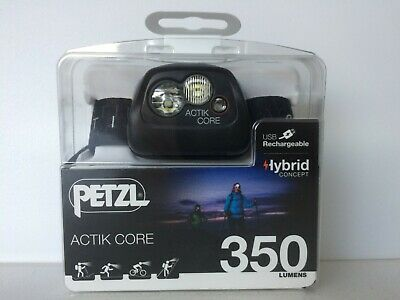 New Black Petzl Actik Core 350 Lumens Hybrid Concept Headlamp