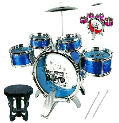 My First Drum Kit Kids Play Set Musical Drums Toy Instrument Pedal Stool Rock