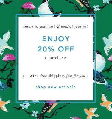 20% Off ANTHROPOLOGIE Entire Purchase Promo-Coupon Code Ex 12/31 Online/In Store
