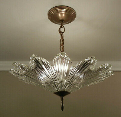 30s Art Deco SUNBURST Glass Chandelier Pendant Light Brass Ceiling Light Fixture