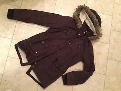 nutmeg girls coat plum maroon colour age 11-12 years faux fur lined