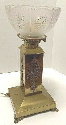 Antique Brass Sq Column Lamp Empire Motifs Claw Feet Electrified Frosted Shade