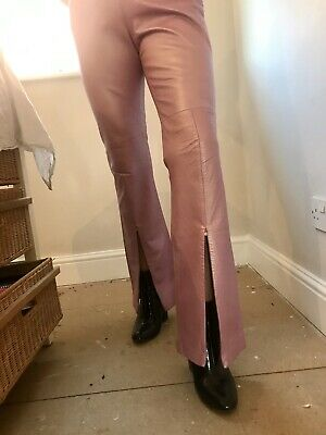 Vintage Versace Couture Leather Jeans Trousers Size 28 / 42 Straight Leg / Flare
