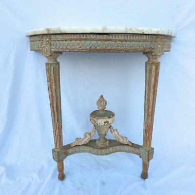 A Fine Louis XVI Carved and Painted Marble Top Demilune Console, 18th Century