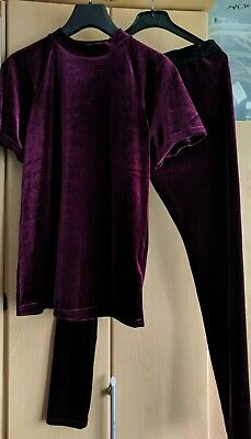 Next Girls Burgundy Velvet Look Outfit Age 12-13 Years