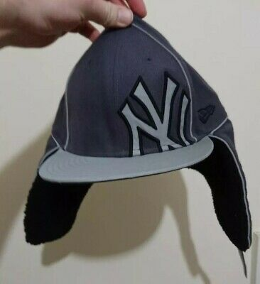 Official Nba new era new york yankees GREY  59Fifty Snapback Cap with ear flaps