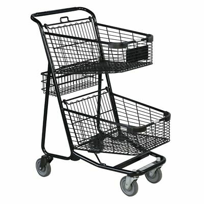 Versacart Double Basket Black Metal Express Shopping Cart with Rear Basket