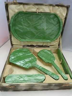 Antique Cased Green Marbled 'Halex' Art Deco Dressing Table Set (Celluloid)