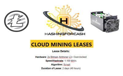48 Hours 1,100 MH/s Litecoin Mining Rental ANTMINER L3+ ASIC Crypto Hash Lease