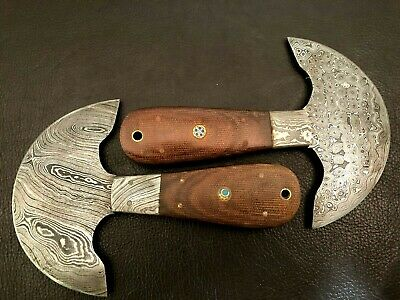 Set of 2 Damascus Steel Leather Skiver-Leather Cutter-Edge Skiving Tool-Faulty