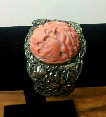 Antique 19th c. Chinese Export Silver and Red Coral Repousse Bracelet Cuff Band