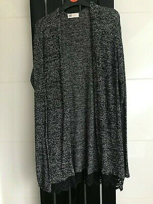 Girls Age 14 Years H&M Grey And Black Speckled Effect Open Cardigan