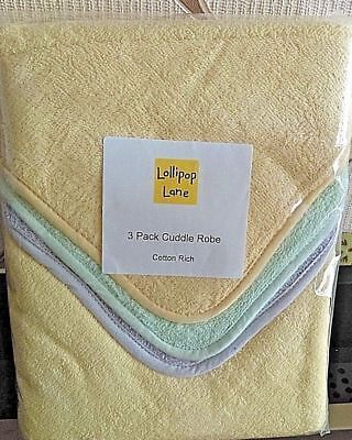 New Baby Cuddle Robes Lollipop Lane 3 Pack Multi colours