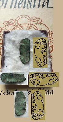 VIKING LITTLE BRONZE TABLET with MAN and DRAGON'S HEAD/RUNES,found:VIKING SITE