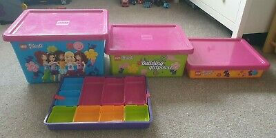 3 x Lego Friends storage boxes stacking and tray tidy