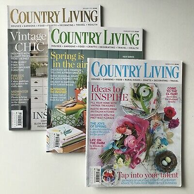 Country Living Magazines - Set Of Three 2013 January February March
